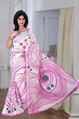 White printed Supernet saree With Blouse