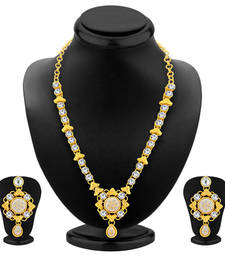 Buy Excellent Gold Plated AD Necklace Set For Women necklace-set online