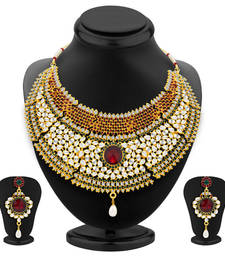 Buy Resplendent Gold Plated Kundan Necklace Set For Women necklace-set online