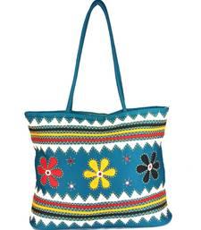 Buy Womens Cottage Blue cotton three flowers patch work bag handbag online