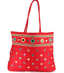 Buy Womens Cottage Red cotton border patch work bag handbag online