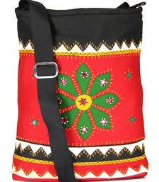 Buy Womens Cottage Red cotton patch work collage bag jhola-bag online
