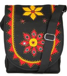 Buy Womens Cottage Black cotton patch work collage bag jhola-bag online