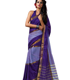 Buy Purple woven Cotton Blend saree With Blouse Woman online