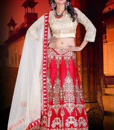 Buy Red embroidered art silk unstitched lehenga choli lehenga-choli online