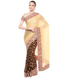Buy Beige embroidered lycra saree With Blouse brasso-saree online