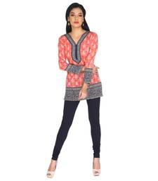 Buy Orange american crepe printed stitched kurti plus-size-kurtis online