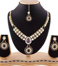Buy Attractive design gold finishing purple austrian stone necklace set with maang tikka necklace-set online