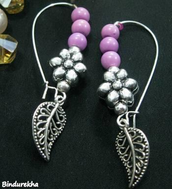 Pink_Beads_Flower_Small_Nakshi_Leaf_Earrings