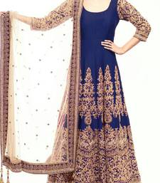 Buy navy blue art silk embroidered semi stitiched salwar with dupatta anarkali-salwar-kameez online