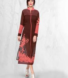 Buy Brown and peach faux georgette embroidered kurti georgette-kurti online