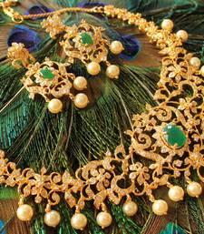 Buy AWESOME CZ- COLOUR CHANGEABLE BRIDAL NECKLACE SET-DJ02824 necklace-set online