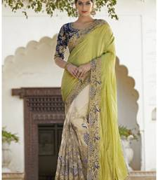 Buy lemon and cream embroidered georgette saree with bloluse designer-embroidered-saree online