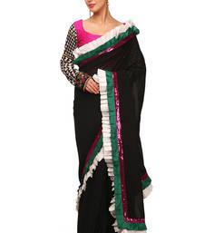 Buy Black plain silk saree With Blouse silk-saree online