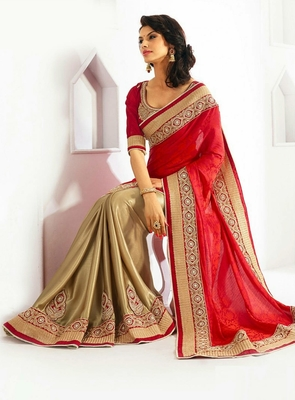 Red embroidred georgette saree with blouse