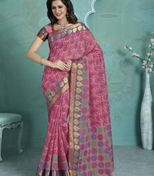 Buy Pink printed Gadwal Cotton saree With Blouse kalamkari-saree online
