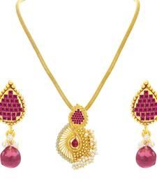 Buy Astonishing Invisible Setting Gold Plated American Diamond Pendant Set For Women Pendant online