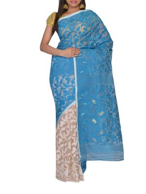 Turquise & White Bengal handloom  Silk Cotton  jamdani sari without Blouse