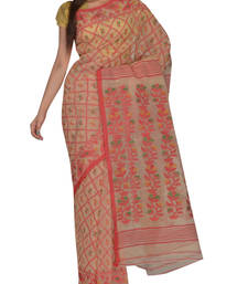 Buy Beige & Red Bengal handloom  Silk Cotton  jamdani sari without Blouse handloom-saree online