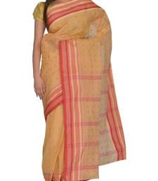 Buy Beige Bengal handloom Cotton Jari sari without Blouse handloom-saree online