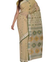 Buy Light Beige Bengal handloom Cotton Jari sari without Blouse handloom-saree online