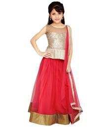 Buy Pink semi stitched lehenga with choli and dupatta for kids wear kids-lehenga-choli online