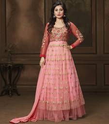 Buy Peach embroidered Net semi stitched salwar with dupatta ready-to-ship-salwar-kameez online