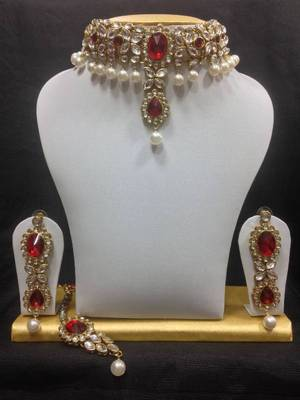 Close Neck Style Kundan Jewelry in White with Red and Pearls