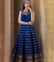 Buy Blue bhagalpuri silk printed semi stitched salwar with dupatta anarkali-salwar-kameez online