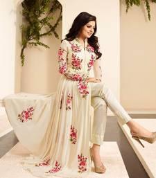 Buy Party wear Off White Georgette embroidered Anarkali semi stitiched salwar with dupatta collar-neck-design online