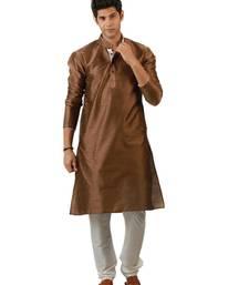 Buy Dark brown blended silk kurta for men men-kurta online