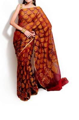 Supernet Cotton Fancy Sequence Work Saree