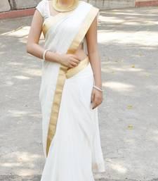 Buy Off White  plain faux chiffon saree With Blouse pongal-dhoti-saree online