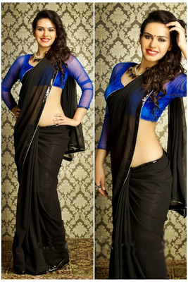Black plain georgette saree With Blouse