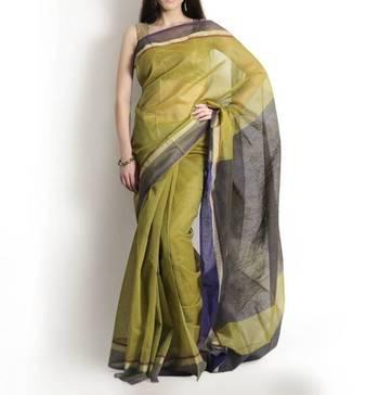 Supernet cotton zari contrast saree