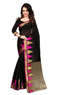 Black and Pink plain cotton saree With Blouse