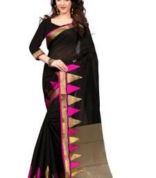 Buy Black and Pink plain cotton saree With Blouse cotton-saree online