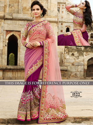 light multicolor embroidered net saree With Blouse