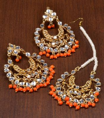 Kundan and Orange Beads Embellished Earrings cum Maang Tika 217MT26
