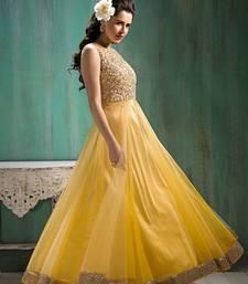 Buy Yellow net embroidered semi stitched salwar with dupatta eid-special-salwar-kameez online