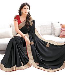 Buy Black plain crepe saree With Blouse party-wear-saree online