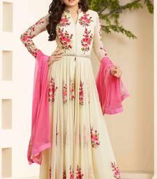 Buy Off White georgette embroidered semi stitched salwar with dupatta party-wear-salwar-kameez online