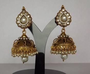 Traditional Temple Style Jhoomkas with Pearls