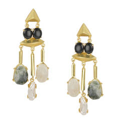 Buy Golden Earrings with Black Onex Labrorite Viva Pearl and Lef Rainbow Stones danglers-drop online