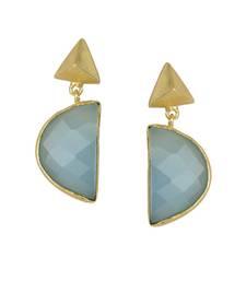 Buy Golden Earrings with Aqua Stone stud online