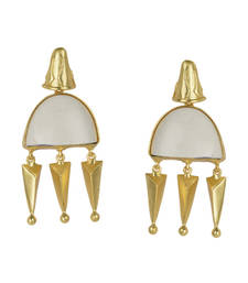 Buy Golden Earrings with White Bhatti Stone stud online