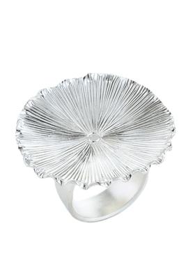 Silver Matt Finish Contemporary Cocktail Ring For Women
