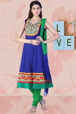 Persian Blue and Deep Lime Green Cotton Readymed Embroidered Anarkali Salwar Kameez