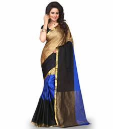 Buy blue plain cotton poly saree With Blouse cotton-saree online