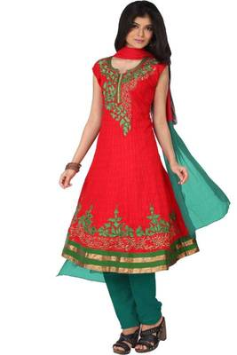 Rose-madder Red Cotton Readymed Embroidered Party and Festival Anarkali Kameez